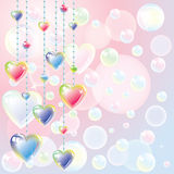 Bright color hearts and soap bubbles Royalty Free Stock Photo