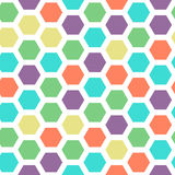 Bright color hexagon seamless pattern with green, violet, yellow, red and cyan colors Royalty Free Stock Photo