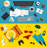 Bright color illustration in trendy flat style with sets of objects that modern people use in everyday life and during rest Royalty Free Stock Photo