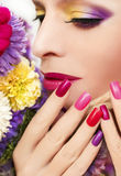 Bright color manicure and makeup. royalty free stock photo