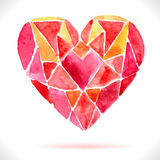 Bright color mosaic watercolor heart royalty free illustration