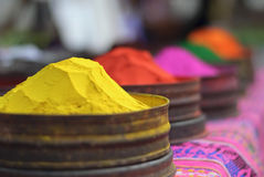 Bright color paint is sold at peruvian market Stock Photography