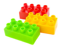 Bright Color Plastic  Building Blocks Isolated on White backgrou Stock Photo