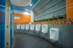 Bright color public toilet on gas station in asia Royalty Free Stock Photos