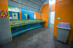 Bright color public toilet on gas station in asia Stock Image