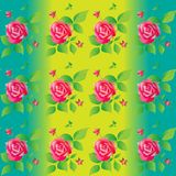 Bright color seamless pattern with beautiful roses. Vector illustration. Stock Image