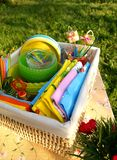 Bright color summer picnic accessories stock photography