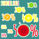 Bright color summer sale stickers with fruits zero circles in numerals Royalty Free Stock Photo