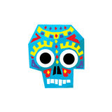 Bright Color Traditional Mexican Painted Scull Icon Stock Images