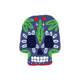 Bright Color Traditional Mexican Painted Scull Icon Royalty Free Stock Images