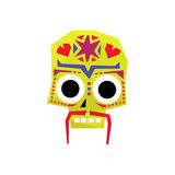 Bright Color Traditional Mexican Painted Scull Icon Stock Image