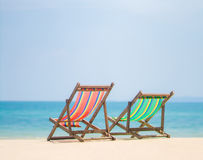 Free Bright Color Wooden Beach Chairs On Island Tropical Beach Stock Images - 44284924