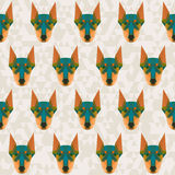 Bright colored abstract doberman polygonal seamless pattern back Stock Photo