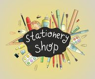Bright colored back to school or stationery shop banner vector illustration