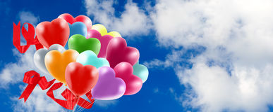 Bright colored balloons in the sky Royalty Free Stock Photography
