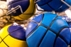 Bright colored balls for basketball, volleyball. Or just to play games on the nature royalty free stock photos