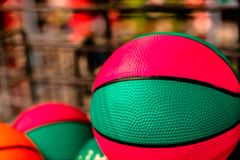 Bright colored balls for basketball, volleyball. Or just to play games on the nature royalty free stock images