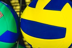 Bright colored balls for basketball, volleyball. Or just to play games on the nature stock photos