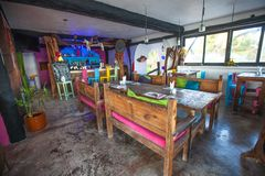 Bright colored bar-restaurant on the white sandy Royalty Free Stock Image