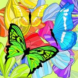 Bright colored butterflies and butterfly wings royalty free illustration