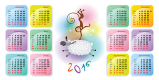 Bright colored calendar for 2016. Stock  colorful calendars for 2016-a monkey riding a sheep Royalty Free Stock Photography