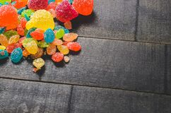 Bright colored candy, sweets, sweets on a dark background Royalty Free Stock Photo