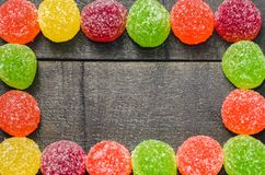 Bright colored candy, sweets, sweets on a dark background Stock Photography