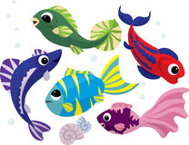 Bright colored cartoon fishes set Royalty Free Stock Photos