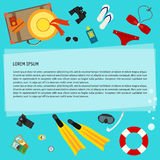 Bright colored conceptual illustration with some objects used modern people on vacation or use in design for card, poster, banner. Placard or billboard. Trendy Royalty Free Stock Photography