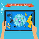 Bright colored conceptual illustration with trendy long shadows on vacation and rest theme with hands holding digital tablet  Stock Image