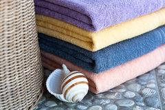 Bright colored cotton towels Stock Photo
