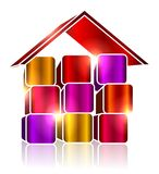 Bright colored cubes make the house Royalty Free Stock Image