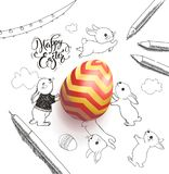 Bright colored egg surrounded by Happy Easter holiday wish handwritten with calligraphic font, funny little rabbits. Clouds, pen, pencils, garland hand drawn Stock Images