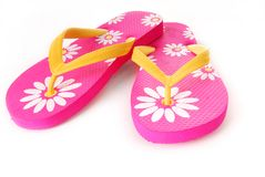 Bright Colored Flip Flops Royalty Free Stock Images