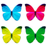 Bright colored geometric polygonal abstract butterfly set   on white background for use in design Stock Image