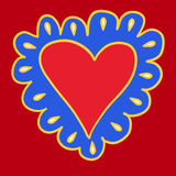 Bright colored hand-drawing heart on red background for use in design for valentines day or wedding greeting card Stock Image