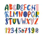 Bright colored hand drawn latin font or english alphabet for kids decorated with scribble. Funny letters arranged in. Alphabetical order and figures isolated on vector illustration