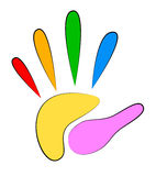 Bright Colored Hand Print Stock Image
