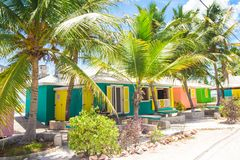 Bright colored houses on an exotic Caribbean Royalty Free Stock Photography
