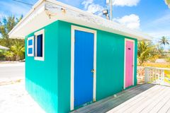 Bright colored houses on an exotic Caribbean Royalty Free Stock Photo