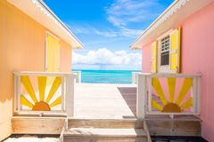 Bright colored houses on an exotic Caribbean Royalty Free Stock Image