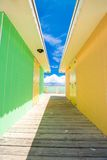 Bright colored houses on an exotic Caribbean Stock Photos