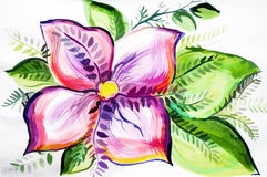 Bright colored illustration with beautiful flower Stock Images