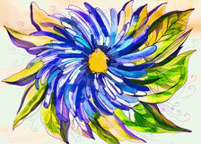 Bright colored illustration with blue flower Royalty Free Stock Images