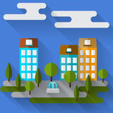 Bright colored illustration with cartoon graphic city houses with long shadows for use in design Stock Images