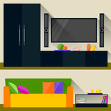Bright colored illustration in trendy flat style with long shadows with room interior for use in design Royalty Free Stock Photography