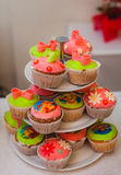 Bright colored muffins Royalty Free Stock Photos