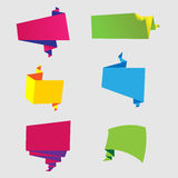 Bright colored origami speech bubble set Royalty Free Stock Images