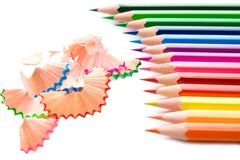 Bright colored pencils Stock Photos