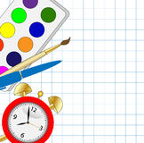 Bright colored pencils,alarm clock and paint Royalty Free Stock Photos